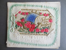 ANTIQUE Celluloid  Embossed Christmas Greetings Card SHIP To Bring Happy Days