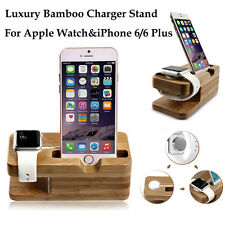 Bamboo Apple Watch & iPhone 6s/7/Plus Charging Dock Station Stand Charger Holder