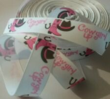 1m g/grain ribbon 22mm white cowgirl up stetson boots pink horse pony hair bows