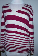 GAP Women's V-Neck Sweater Purple/Cream Stripe Long Sleeve Size XL $44.50 NWT