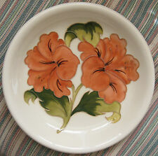 Vintage Walter Moorcroft Pottery Coral Hibiscus White 8.5 inch signed Plate Bowl