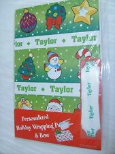 "PERSONALIZED ""Taylor"" HOLIDAY WRAPPING PAPER +BOW! Christmas Gift Wrap"