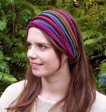 Bright Rainbow Tribal Knit Headwrap Dreadband Head wraps hair Cotton Dreads