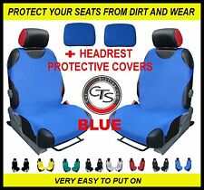 CAR FRONT SEAT COVERS PAIR + HEADREST BLUE FIAT PANDA DOBLO GRANDE PUNTO