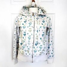 TNA Aritzia Logo Hoodie Zip Up Jacket Pattern Sweater Small Green Blue White