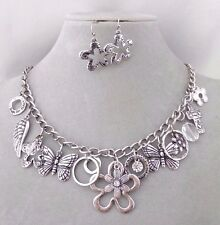 Silver Flower Angel Wing Flower Butterfly Cross Necklace Set Fashion Jewelry NEW