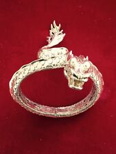 SUPERRARE JOHN HARDY LARGE NAGA 18K GOLD EMBLEM&SILVER DRAGON BRACELET GOLD EYES