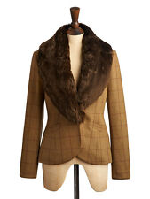 Joules Women's Larkworth Holker Tweed Blazer with Detachable Fur Collar Size 14