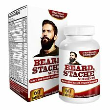 Beard & Stache Nutrients for Men: Facial Hair / Beard Growth Supplement Vitamins