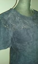 ZARA BEAUTIFUL 100% SUEDE PERFORATED BLUE TOP LARGE NWT