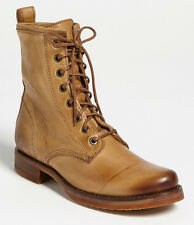 NEW FRYE Womens Veronica Combat Camel Leather Lace-up Ankle Boot Size 6 B $278
