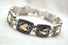 LADIES 7.75 INCH MAGNETIC THERAPY LINK BRACELET: Silver with Gold Hearts 4 Pain