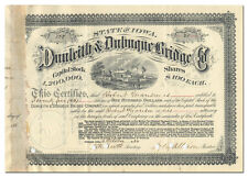 Dunleith & Dubuque Bridge Co. Stock Certificate Signed by William Boyd Allison