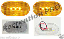 "2 NEW 4""x2"" OBLONG CLEAR/AMBER LED SURFACE MOUNT CLEARANCE MARKER LIGHTS 14303CA"