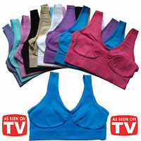 Womens Ladies Seamless Crop Top Comfort Bra Sports Gym Vest Stretch Shapewear
