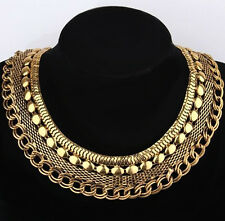 EGYPTIAN GRECIAN VINTAGE LIGHT GOLD STATEMENT COLLAR NECKLACE FOR WOMEN FASHION