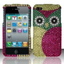 For Apple iPhone 4 4S Crystal Diamond BLING Hard Case Snap Phone Cover Green Owl