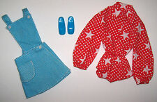 Vintage Barbie SPORT STAR #3353 Skirt & Bib Red Star Body Suit Chunky Shoes 1972