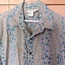 Vintage 80's Mahalo Clothing Men's Green Floral Cotton Hawaiian Camp Shirt XL