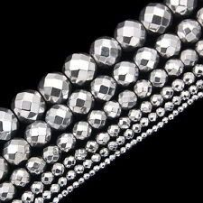 Faceted Hematite Gemstone Round Spacer Beads 15.5'' 2mm 3mm 4mm 6mm 8mm 10mm