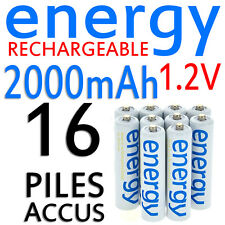 16 PILES ACCUS RECHARGEABLE AAA ENERGY NI-MH 2000mAh 1.2V LR03 LR3 R03 R3 ACCU
