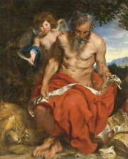 Saint Jerome Anthonis van Dyck anciano Ángel resorte desnudo Bart B a3 00571