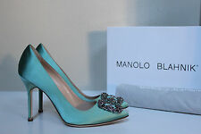 "New sz 8.5 / 39 Manolo Blahnik Mint Hangisi Brooch Toe Jewel 4"" Heel Pump Shoes"