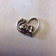 2008 JOHN HARDY SS CHINESE ZODIAC - YEAR OF THE RAT IN HEART TIE TACK LAPEL PIN