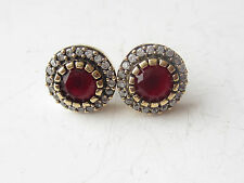 TURKISH RUBY ROUND 925K STERLING SILVER HURREM SULTAN STUD EARRINGS