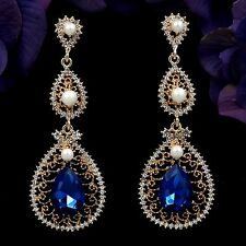 18K Gold Plated GP Blue Crystal Rhinestone Chandelier Drop Dangle Earrings 07771