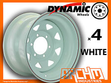 SET OF 4 WHITE 4X4 DYNAMIC SUNRAYSIA WHEELS 15X8 6/139.7 OR 5.5 4WD RIM HILUX