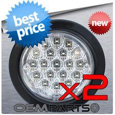 """2X NEW 4"""" ROUND TRUCK TRAILER CLEAR LED LIGHT BACK-UP REVERSE WHITE 12v USA RV"""