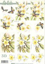Feuille 3D à découper A4 - Fleurs Papillon 8215.194 - Decoupage Flower Butterfly