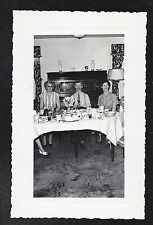 Antique Photograph People Sitting At Dining Table in Retro Room