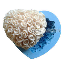 Love Heart Rose Flower Silicone Mold Cake Decorating Sugarcraft Cupcake 3D Mould