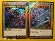 Blue-Eyes White Dragon + Dark Magician - YuGiOh - Gold Secret Rare - MVP1 cards