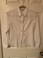 Womens/Ladies White Fitted Long Sleeve Shirt. Size 8