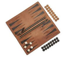 NEW Fossil Brand Logo Leather Travel Game Set Pouch Backgammon & Checkers