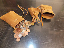 Medieval/Larp/SCA/Pagan/Reenactment Tan Leather DRAWSTRING MONEY POUCH/ BAG