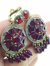TURKISH HANDMADE JEWELRY 925 Sterling Silver Antique Ruby Earrings E2579