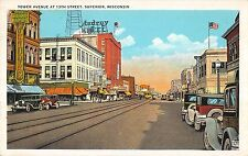 Superior Wisconsin Tower Avenue At 13h Street Antique Postcard V20766