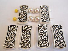 6 SILVER PLATED TIBETAN BALI STYLE LARGE RECTANGLE 2 HOLE SLIDER SPACER BEAD BAR