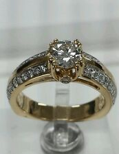 14k yellow gold diamond engagement wedding ring 1.09ct tw unique and classic.