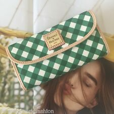 Dooney & Bourke Green Coated Canvas Gingham Continental Clutch Wallet WGING0507