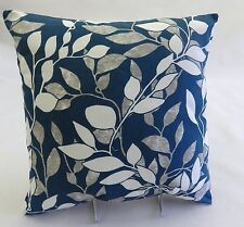 Cushion Cover Turquoise Blue White and Gray Leaf Leaves16x16 Lilley Bee Textiles
