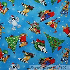 BonEful FABRIC FQ Cotton Quilt Blue White Red Snowflake Xmas Puppy Dog Santa Hat