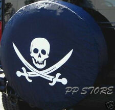 "SPARE TIRE COVER 24.5""-25.8""  Pirate safari Skull soft black xs398420p"