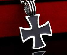 Top Quality Stainless Steel Knights Templar Iron Cross Pendant Necklace Chain