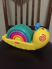 Fisher Price Developmental Toddler Large Toy Rainbow Snail Stacker EUC