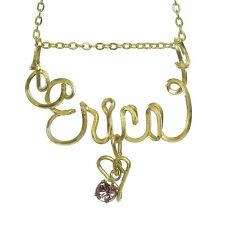 Handmade Personalized 10k Gold-filled Name Necklace w/ Heart and Birthstone